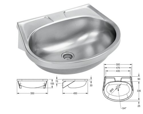 Franke Sissons MEDICAL wash basin No overflow and no tap hole
