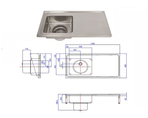 Hospital Pattern Plaster Sink 1200x600LHB