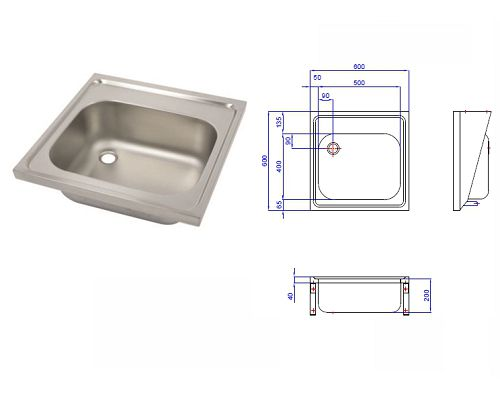 Hospital Pattern Sink Top - Single Bowl 600x600 LH