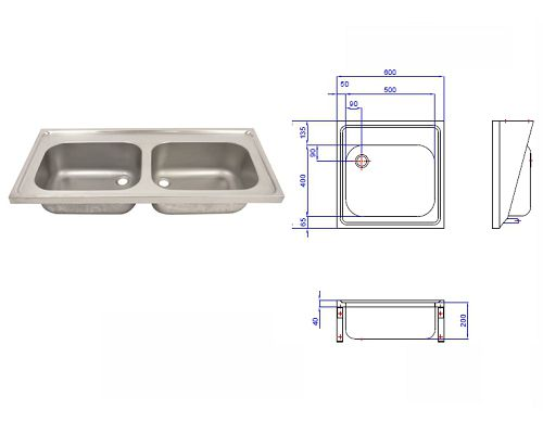 Hospital Pattern Sink Top- Double Bowl 1200x600