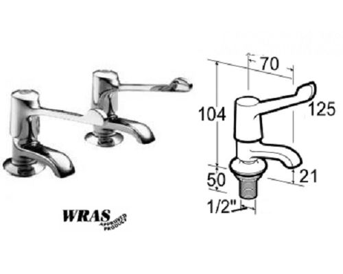"Mechline Pegler 6-in lever Basin taps 1/2"" Pair"